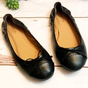 Talbots black leather cap ballet flats with bow 8